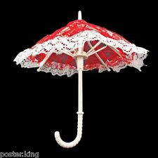 Red Floral Umbrella with Lace 1/6 Blythe Barbie Doll's House Dollhouse Miniature