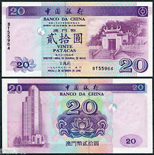 MACAO MACAU BANK OF CHINA 20 patacas 1996  Pick 91  SC /  UNC