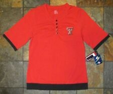 NWT M Red Double Layer Look Shirred T-Shirt Top Texas Tech Red Raiders Women's