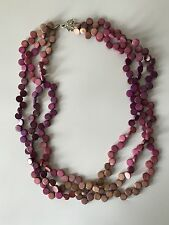 Purple Rose Beige Ombre Round Strung Triple Strand Necklace Dye Tablets Pebble