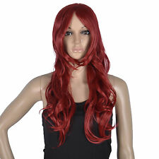 Women Wine Red Full Long Curly Wavy Hair Wig Cosplay Party Wigs