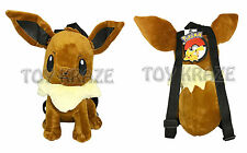"POKEMON EEVEE PLUSH BACKPACK! BROWN LARGE STUFFED DOLL TOY BAG 12"" NEW"