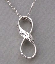 925 Sterling Silver Infinity I love you forever Pendant Necklace Jewelry NEW
