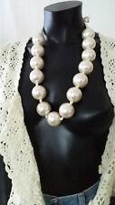 1920s Vintage Style Chunky Large Faux Pearl Oversize Bib Necklace