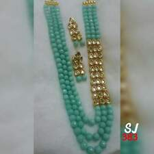 Fashion Jewelry Bollywood Indian Kundan Pearl Necklace Earring Set Bollywood 0RT
