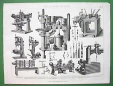DRILLS Drilling Machines Steam Long Haul - 1870 Antique Print Engraving