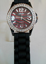 Shine Zebra Print Red/Black Crystal Encrusted Silicone Band Fashion Watch