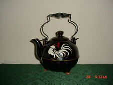 """2-PC VINTAGE BROWN """"ROOSTER"""" TEA POT WITH LID/METAL HANDLE/NO STAMP/CLEARANCE!"""