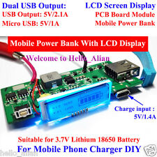 LCD Display 3.7V Lithium 18650 Dual USB Battery Charger Module For Mobile Phone
