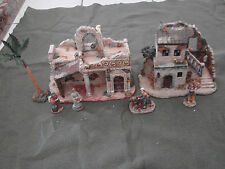 Granduer Noel Bethlehem Village lot 2 Buildings Figures Palm Tree