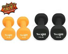 Yes4All Neoprene Coated Dumbbell Hand Weight 2 Pair - Set 8 + 10 lbs - ²DL3SC