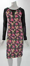 Betsey Johnson Two Piece Top & Skirt Sheer Long Sleeve Scuba Flower Dress NWT S