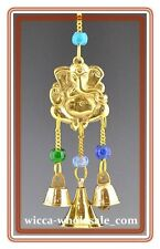 "9"" Brass Ganesh Wind Chime Wicca  FREE SHIP Windchime Feng Shui Bell"