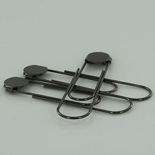 "12 GUNMETAL Jumbo/Giant Bookmarks 3 1/2"" Paper Clips/Paperclips w/Glue Pad Black"