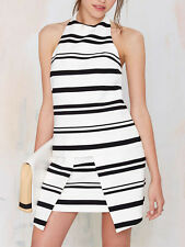 Finders Keepers The Renaissance Black White Stripe Layer Mini Dress 6 8 10 NEW