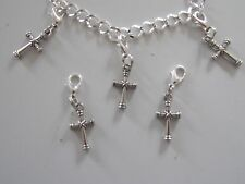 CELTIC CROSS RELIGION PAGAN 3D charm clip on lobster clasp for charm bracelets