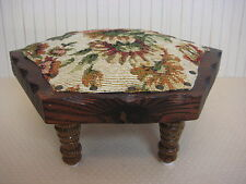 Vintage Hexagon Wooden Foot Stool With Floral Cover & Brass Nail, 4 Legs, 5 1/3""