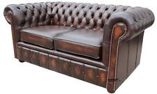 Brand New Chesterfield 2 Seater Sofa Settee Antique Brown Real Leather Couch