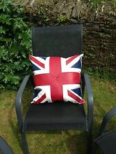 "White Faux Leather Cushion Cover, Union Jack Design, 20"" Scatter Cushion Pillow"