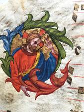 14th Century Italian Illuminated Medieval Manuscript Leaf Vellum Antiphonal