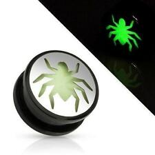 Earrings Ring Black UV Screw Fit Plug with Glow in the Dark Hollow Spider 5/8