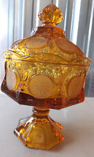 Beautiful Large Tall Amber Glass Festoria Coin Container Candy Dish  w Lid