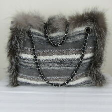 George Rech Fur/Fabric Luxurious Designer Handbag Medium (Accessories/Clothing/)