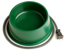 Heated Pet Bowl Dog Cat Small Animal Waterer Outdoor Water Warmer Green Heaters