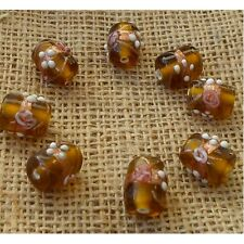 10 HANDMADE INDIAN LAMPWORK GLASS BEADS ~ 16mm Amber Tube ~ 25