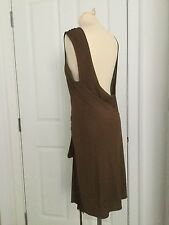 ALBERTA FERRETTI - DESIGNER HIGH NECK/LOW BACK BROWN JERSEY WRAP DRESS - SIZE 8