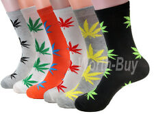 New Lot 12 Pairs Mens Leaf Marijuana Weed Pattern Fashion Dress Socks Size 10-13