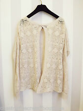 TOPSHOP open-back pointelle crochet tricot sheer beige mohair hiver jumper 10