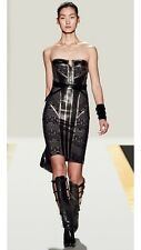 HERVE LEGER $2400 Gray Zeva Strapless Gunmetal Chain Leather Bandage Dress S