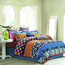 3 PIECE FLORAL STRIPE PATCHWORK LOOK KING SIZE COMFORTER SET BRIGHT *NEW*