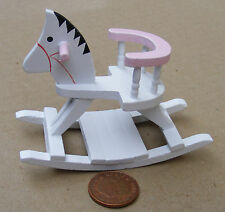 1:12th White & Pink Wooden Rocking Horse Dolls House Miniature Nursery Accessory
