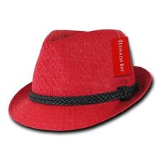 Red Brim Hipster Paper Straw Woven Black Braid Band Fedora Fedoras Hat Sz L/XL