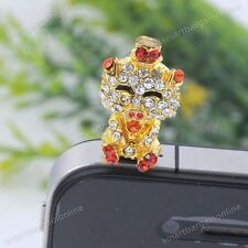 Cute Golden Pig Crystal Earphone Jack Anti-Dust Plug Stopper Cap For Cell Phone