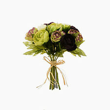Artificial silk flowers Ranunculus Posy Bunch Green Aubergine 10 stems 23cm
