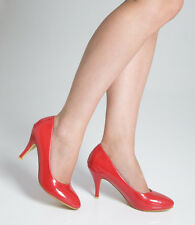 Ladies Womens Mid Heel Court Shoe / Office / Formal Shoes - Red - UK Size 8