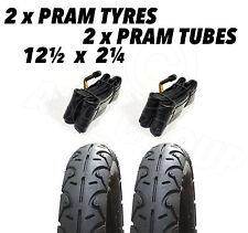 2 x Pram Tyres & 2 x Tubes 12 1/2 X 2 1/4 Slick Jane Powertwin Powertrack Slalom