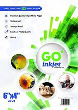 300 Sheets 6x4 230gsm Glossy Photo Paper for Inkjet Printers by Go Inkjet