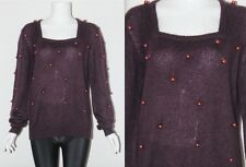 Vintage 90's MOHAIR ? Blend Purple BEADS EMBELLISHED SLOUCH Square Neck Jumper M