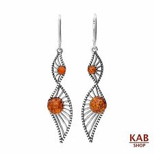 COGNAC BALTIC AMBER STERLING SILVER 925 JEWELLERY, DANGLE EARRINGS, KAB-14