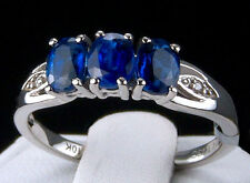 1.62ct Himalayan Kyanite Trilogy with Diamonds 10k Solid White Gold Ring, Size 7