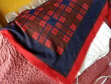 VINTAGE LARGE RED WOVEN TARTAN SHAWL WOOL? 46 INCHES SQUARE                  50