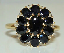 A FINE  9CT YELLOW  GOLD  SAPPHIRE & DIAMOND  CLUSTER ENGAGEMENT RING SIZE Q 1/2
