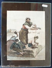 aquarelle sur canson lavandières bretonnes Le Lavoir de la Houle Cancale