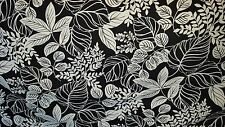 BLACK  AND WHITE COTTON PRINT DRAPERY UPHOLSTERY FABRIC