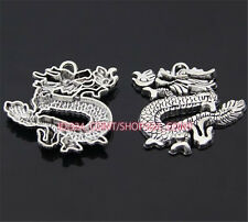 P960 3pc Tibetan Silver dragon Charm Beads Pendant accessories wholesale
