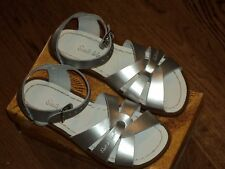 New Salt Water Sandals,original style, silver metallic leather, child 10,NIB